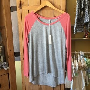 Z Supply Pink & Gray Ragland 3/4 tee New with tags